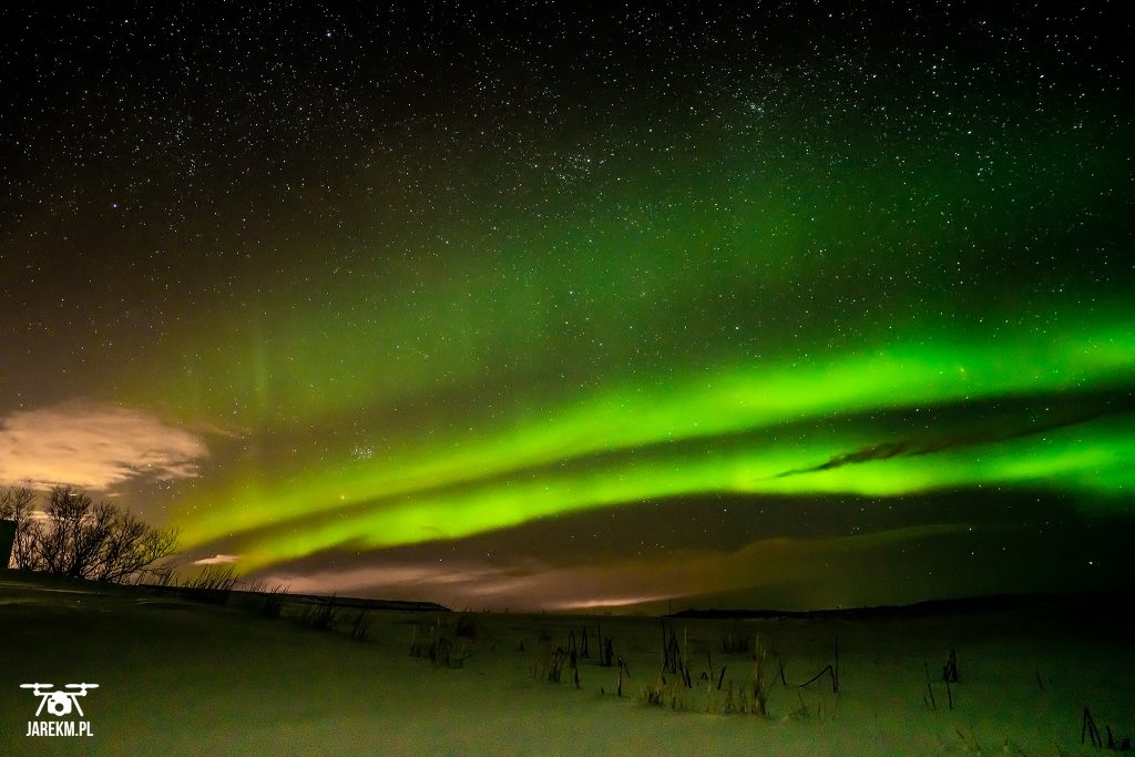 Zorza polarna na Islandii.