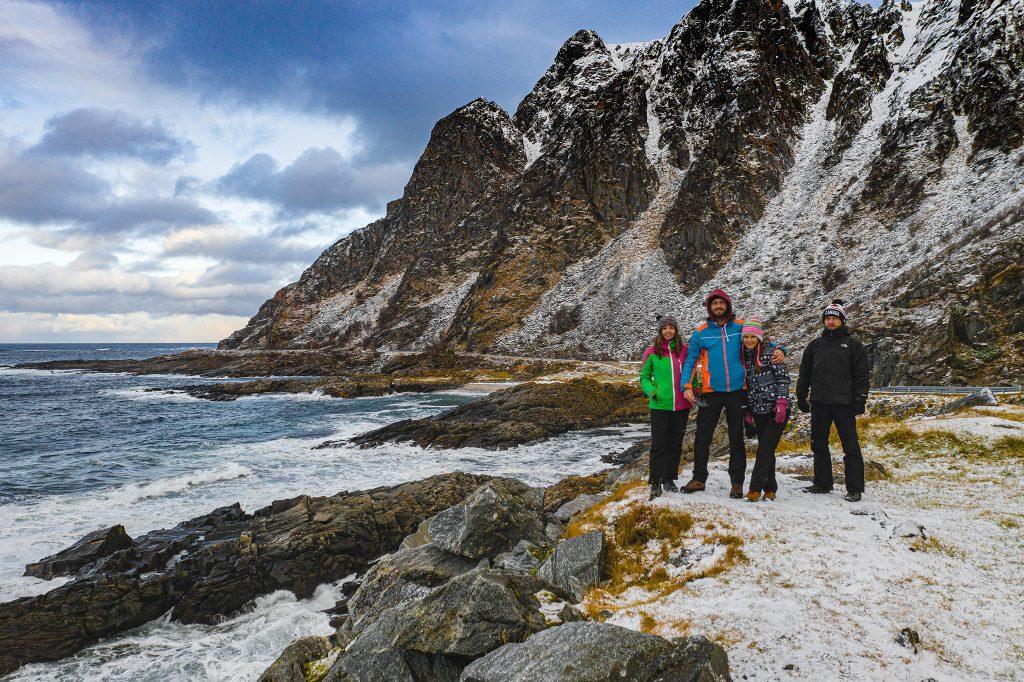 Selfie naszej ekipy z drona ;) Zachodnie wybrzeże Vesteralen.