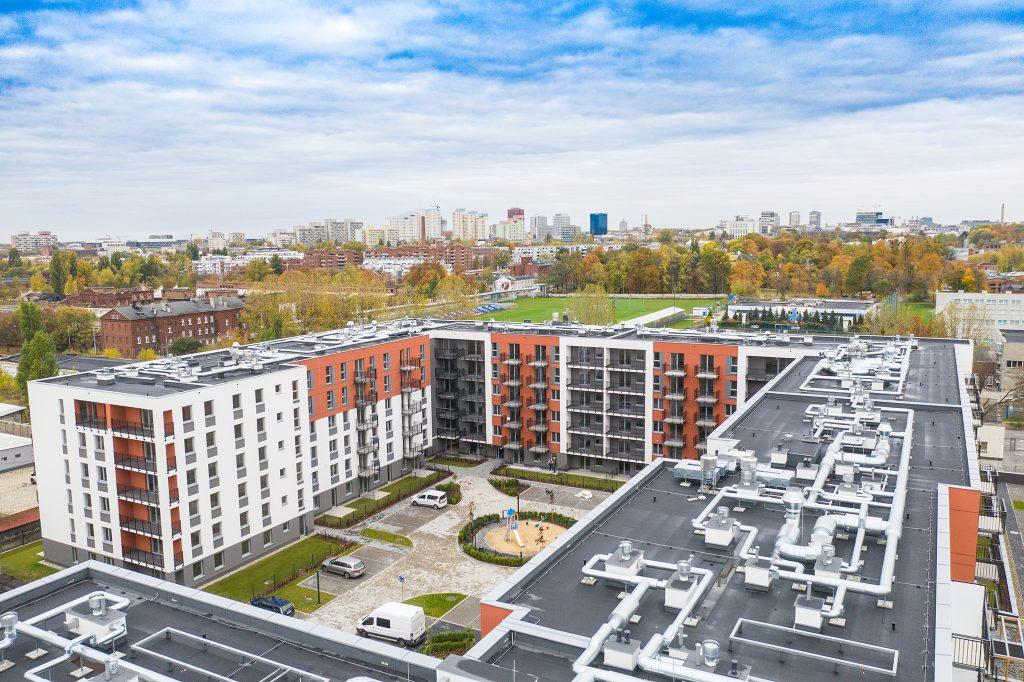 Zdjęcie z drona inwestycji Senatorska w Łodzi.